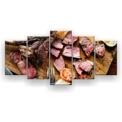 Quadro Decorativo Carne Picada Churrascaria 129x61 5pc Sala