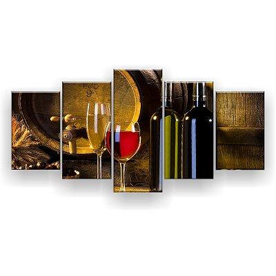 Quadro Decorativo Vinho Torneira Barril 129x61 5pc Sala