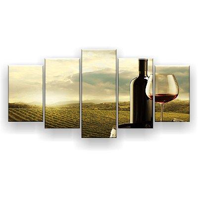 Quadro Decorativo Vinho Plantação 129x61 5pc Sala
