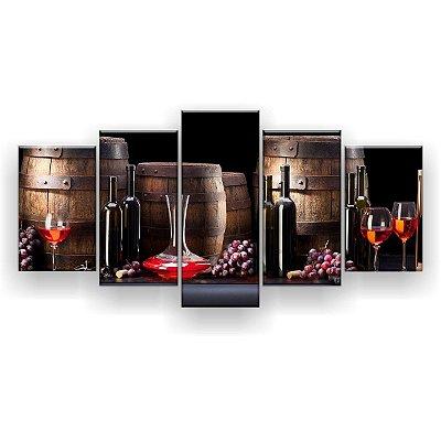 Quadro Decorativo Vinho Quatro Barris 129x61 5pc Sala