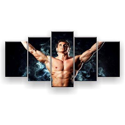 Quadro Decorativo Fitness Academia Braços Abertos 129x61 5pc Sala