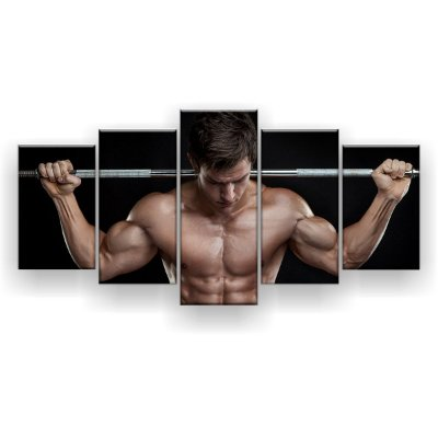 Quadro Decorativo Ombro Barra Homem Fitness 129x61 5pc Sala