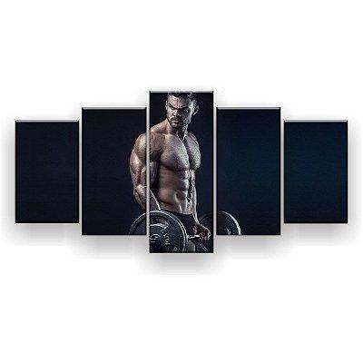 Quadro Decorativo Bíceps Barra Homem Fitness 129x61 5pc Sala