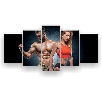 Quadro Decorativo Casal Fitness Cropped Laranja 129x61 5pc Sala