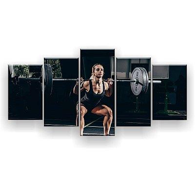 Quadro Decorativo Agachamento Frente Mulher Fitness 129x61 5pc Sala