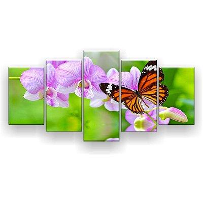 Quadro Decorativo Borboleta Monarca Flores 129x61 5pc Sala