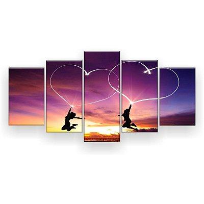 Quadro Decorativo Coração Céu Roxo 129x61 5pc Sala