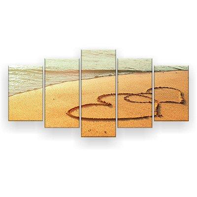 Quadro Decorativo Coração Areia 129x61 5pc Sala