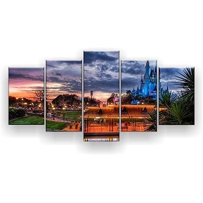 Quadro Decorativo Magic Kingdom Noite 129x61 5pc Sala