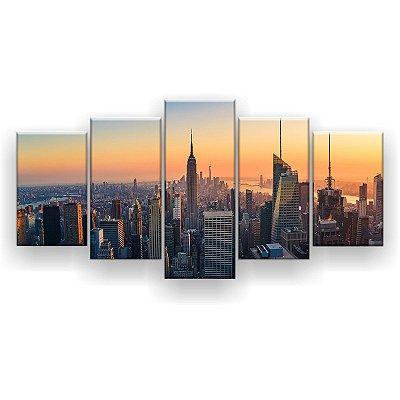 Quadro Decorativo Vista Aérea De Manhattan 129x61 5pc Sala