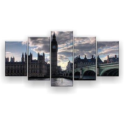 Quadro Decorativo Ponte Big Ben Londres 129x61 5pc Sala