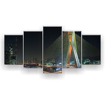 Quadro Decorativo Ponte Estaiada São Paulo 129x61 5pc Sala