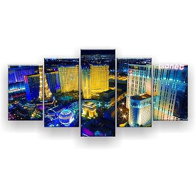 Quadro Decorativo Noite Em Las Vegas 129x61 5pc Sala