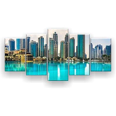 Quadro Decorativo Horizonte Dubai 129x61 5pc Sala