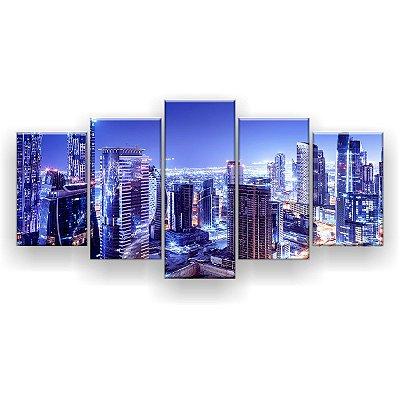 Quadro Decorativo Dubai Noturna 129x61 5pc Sala