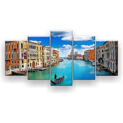 Quadro Decorativo Canal De Veneza 129x61 5pc Sala