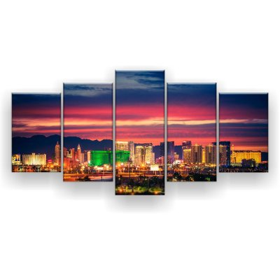 Quadro Decorativo Entardecer Las Vegas 129x61 5pc Sala