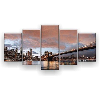 Quadro Decorativo New York Entardecer 129x61 5pc Sala