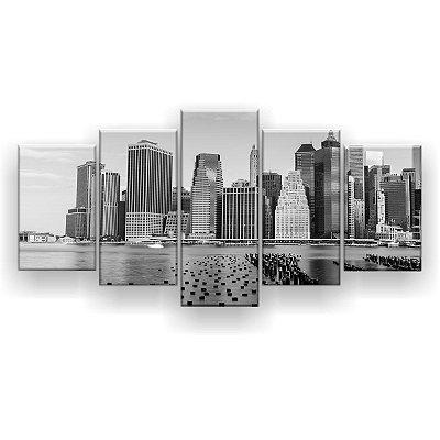 Quadro Decorativo Nova Iorque Cinza 129x61 5pc Sala