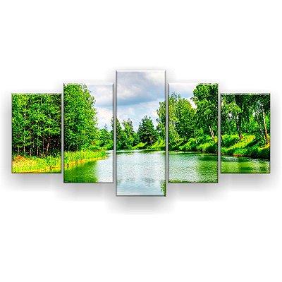 Quadro Decorativo Natureza Verde 129x61 5pc Sala