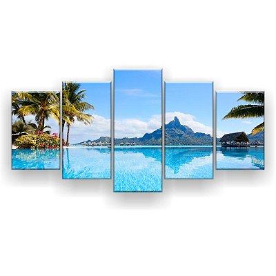 Quadro Decorativo Paisagem Bora Bora 129x61 5pc Sala