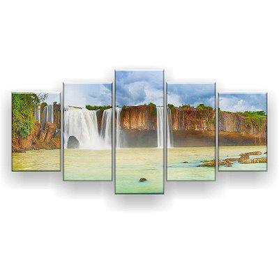 Quadro Decorativo Cachoeira Seca 129x61 5pc Sala