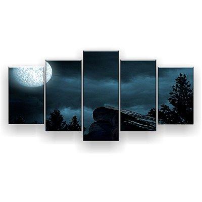 Quadro Decorativo Luar Sobre A Floresta 129x61 5pc Sala