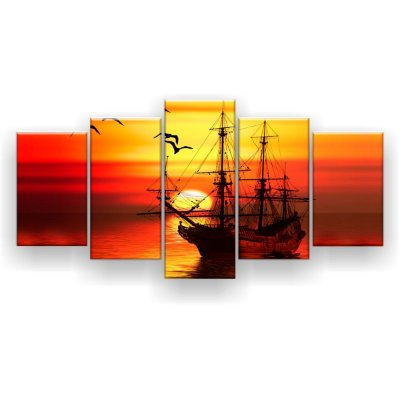 Quadro Decorativo Barco No Mar 129x61 5pc Sala