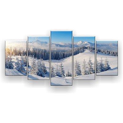 Quadro Decorativo Montanhas De Inverno 129x61 5pc Sala