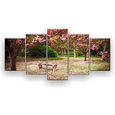 Quadro Decorativo Flores De Cerejeira Banco 129x61 5pc Sala