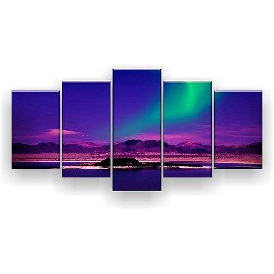 Quadro Decorativo Aurora Boreal Sobre O Lago 129x61 5pc Sala