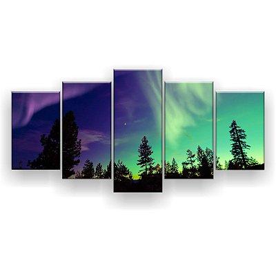 Quadro Decorativo Aurora Boreal Árvores 129x61 5pc Sala