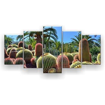 Quadro Decorativo Jardim De Cactos 129x61 5pc Sala