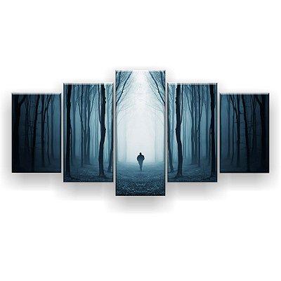 Quadro Decorativo Floresta Misteriosa Nevoeiro 129x61 5pc Sala