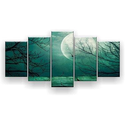 Quadro Decorativo Luar Sobre O Mar Verde 129x61 5pc Sala