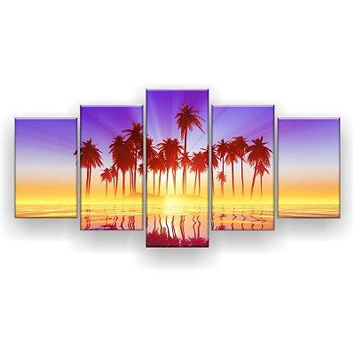 Quadro Decorativo Ilha De Coqueiro 129x61 5pc Sala