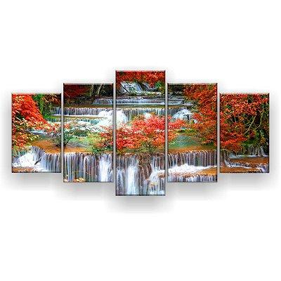 Quadro Decorativo Cachoeira Floresta Tropical 129x61 5pc Sala