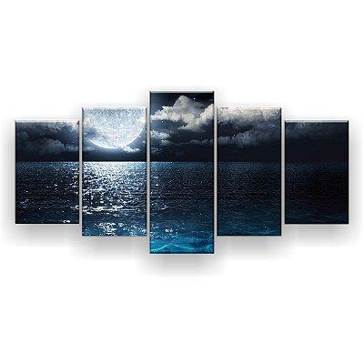 Quadro Decorativo Lua Cheia Mar Noite 129x61 5pc Sala