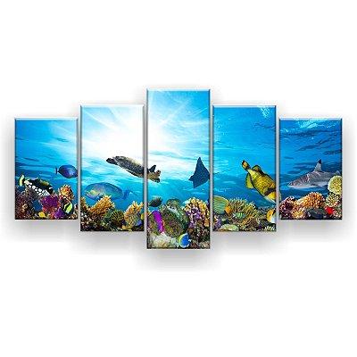 Quadro Decorativo Corais De Peixes 129x61 5pc Sala