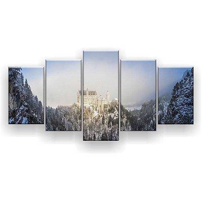 Quadro Decorativo Castelo Nas Montanhas 129x61 5pc Sala
