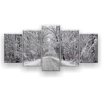 Quadro Decorativo Floresta De Inverno 129x61 5pc Sala