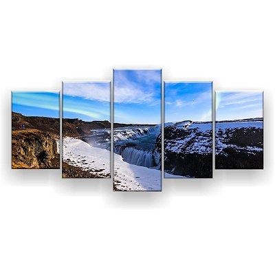 Quadro Decorativo Aurora Boreal Dia 129x61 5pc Sala