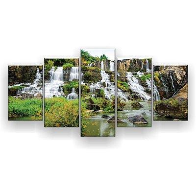Quadro Decorativo Cachoeira Verde 129x61 5pc Sala