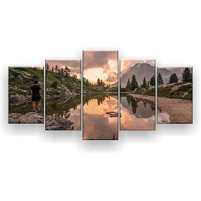 Quadro Decorativo Homem Montanha Lago 129x61 5pc Sala