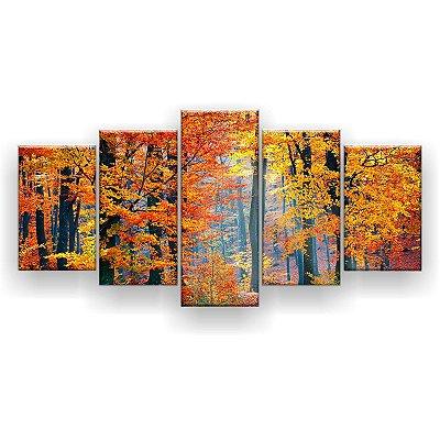 Quadro Decorativo Árvore De Outono 129x61 5pc Sala
