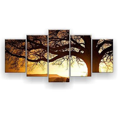 Quadro Decorativo Árvore Grande Nascer Do Sol 129x61 5pc Sala