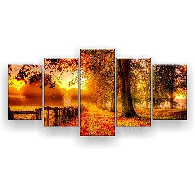 Quadro Decorativo Árvores Folhas Vermelhas 129x61 5pc Sala