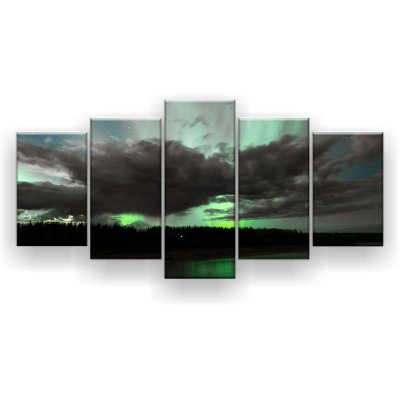 Quadro Decorativo Aurora Boreal Nuvens Mar 129x61 5pc Sala