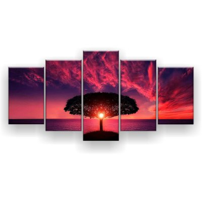 Quadro Decorativo Árvore Céu Roxo Luz 129x61 5pc Sala
