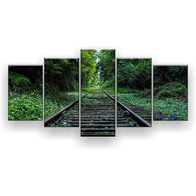 Quadro Decorativo Trilho Para A Selva 129x61 5pc Sala